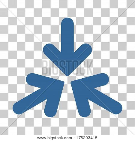 Triple Collide Arrows icon. Vector illustration style is flat iconic symbol cobalt color transparent background. Designed for web and software interfaces.