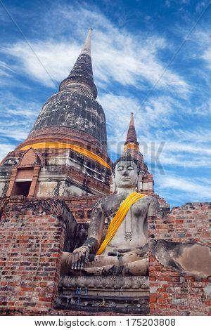 Ancient Buddha statue in Wat Yai Chaimongkol in Ayutthaya, Thailand