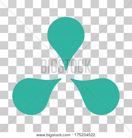Map Markers icon. Vector illustration style is flat iconic symbol cyan color transparent background. Designed for web and software interfaces.