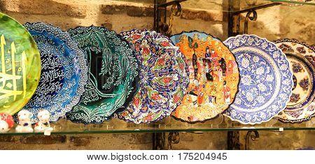 Turkish Ceramics in Grand Bazaar Istanbul City Turkey poster
