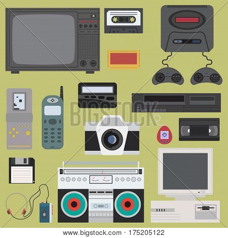 Set of gadget of 90s color icons, design elements. Flat retro style. Vector illustration