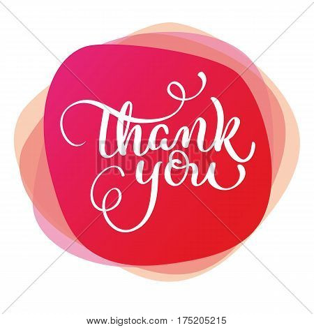 text thank you on red background. Calligraphy lettering Vector illustration EPS10.