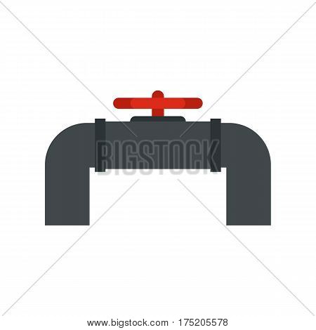 Pipeline with valve and handwheel icon in flat style isolated on white background vector illustration