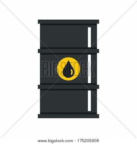 Black oil barrel icon in flat style isolated on white background vector illustration