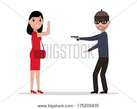 Vector illustration of a cartoon robber with a gun robbing a woman. Isolated white background. Flat style. Bandit steals from the female. Concept of robbery.