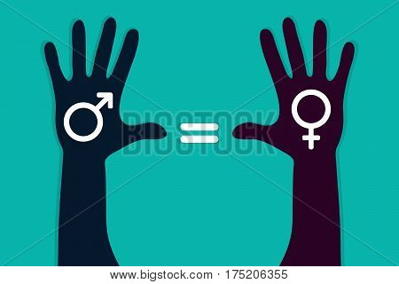 Colorful hands with male and female symbol. Human rights gender equality symbol. Vector illustration.