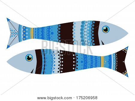 Zodiac sigh fish zen tangle, vector illustration