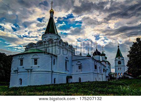 View to Orthodox Pechersky Ascension Monastery Nizhny Novgorod Russia
