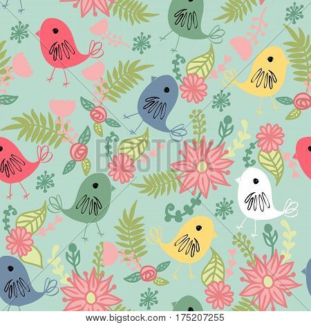 Vector seamless pattern with birds and flowers.