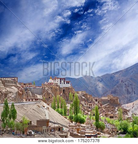 Famous ancient Lamayuru Gompa in Ladakh, Jammu and Kashmir, North India