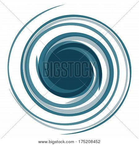 Hypnotic logo. Dynamic game effect. Twisted blue curl. Spiral stylized curls. Background for presentation.