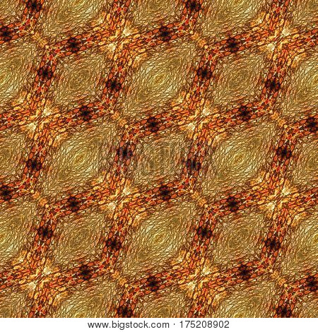 Abstract seamless pattern with scales, oval shapes and stylized reptile texture. Brown, yellow and orange generated pattern with snake skin