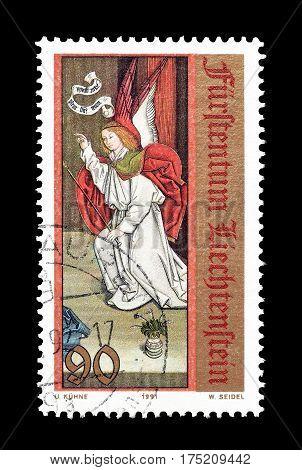 LIECHTENSTEIN - CIRCA 1991 : Cancelled postage stamp printed by Liechtenstein, that shows Angel.
