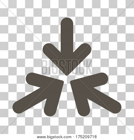 Triple Collide Arrows icon. Vector illustration style is flat iconic symbol grey color transparent background. Designed for web and software interfaces.