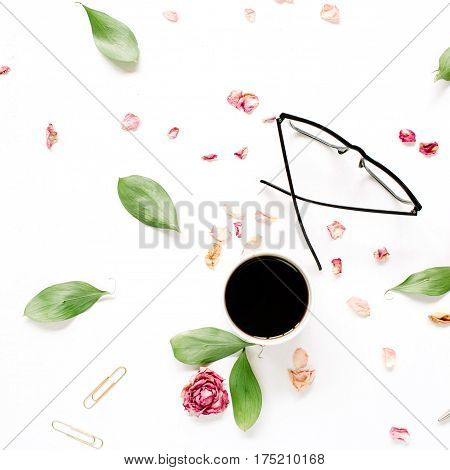 Red rose bud glasses leaves coffee on white background. Entrepreneur or beauty blogger home office table desk workspace. Flat lay top view