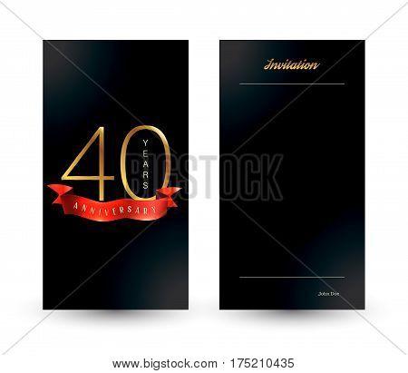 40th anniversary decorated invitation card template. Vector illustration.