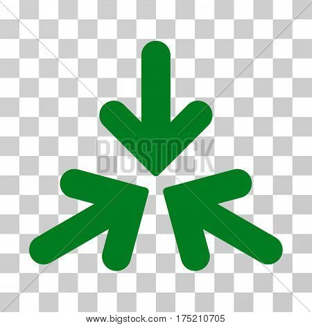 Triple Collide Arrows icon. Vector illustration style is flat iconic symbol green color transparent background. Designed for web and software interfaces.