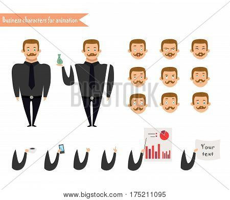 Emotion faces.Emoji face icons.Boy character for scenes.Parts of body template for animation. Funny office man cartoon.Vector illustration isolated on white background.Business Elements for web design