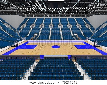 Bbeautiful Sports Arena For Basketball With Gray Blue Seats And Vip Boxes