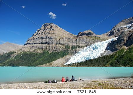 Beautiful day at Berg Lake in Mount Robson Provinicial Park in British Columbia Canada