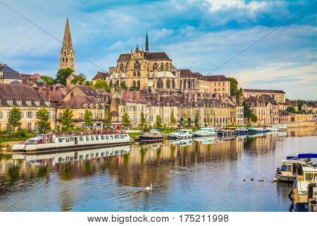 Historic Town Of Auxerre With Yonne River, Burgundy, France