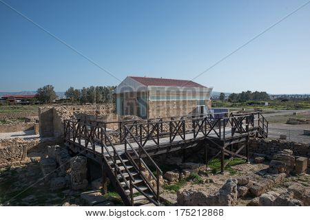 View of Paphos Archaeological Park in Cyprus