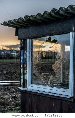 Old Creepy Dark Abandoned Destructive Dirty House Broken Windows Sunset