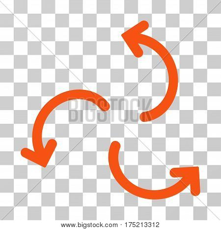 Cyclone Arrows icon. Vector illustration style is flat iconic symbol orange color transparent background. Designed for web and software interfaces.