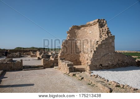 Ancient ruins in Paphos Archaeological Park Cyprus