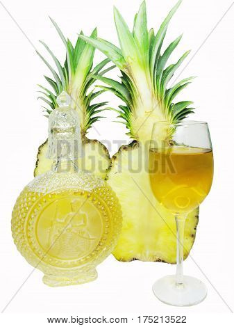 cut ripe pineapple isolated and white wine in a goblet