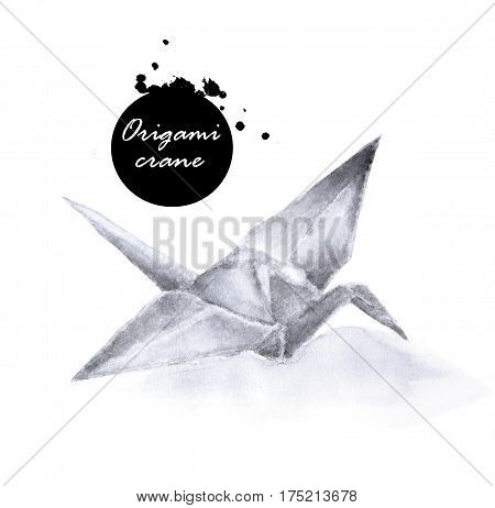 Watercolor of origami crane on white background