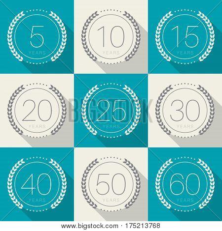 Vector set of anniversary symbols. 5th, 10th, 15th, 20th, 25th, 30th, 40th, 50th, 60th anniversary logo's collection.