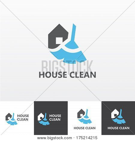 Vector logotype for house cleaning and maintenance eps file horisontal and vertical view
