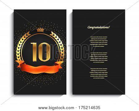 10th anniversary decorated invitation card template. Vector illustration.