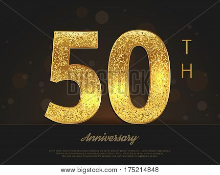 50th anniversary decorated invitation/greeting card template. Vector illustration.