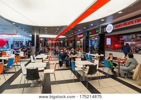 Moscow, Russia - March 05.2017. Food court in a Shopping complex Capitoliy