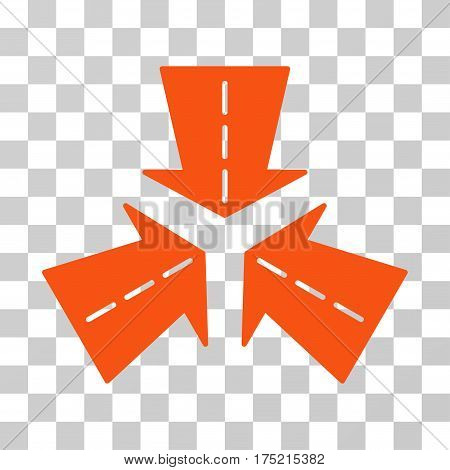 Merge Directions icon. Vector illustration style is flat iconic symbol orange color transparent background. Designed for web and software interfaces.