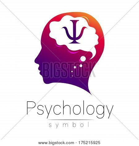 Modern head with letter Psi inside brain . sign of Psychology. Profile Human. Creative style. Symbol in vector. Design concept. Violet color isolated on white background. Icon for web.