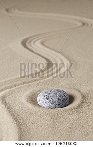zen budhism meditation stone and sand. Paterns for relaxation and concentration.