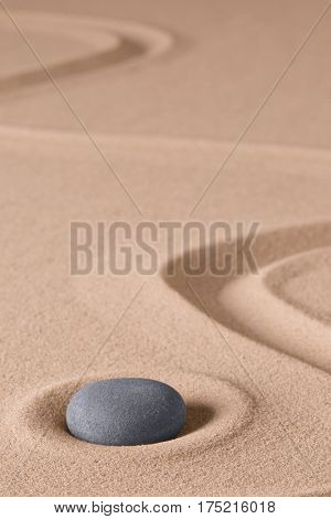 Zen meditation stone and sand garden. Symbol for relaxing spirituality harmony and purity. Spiritual background.