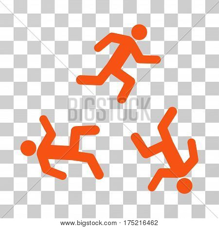 Running Men icon. Vector illustration style is flat iconic symbol orange color transparent background. Designed for web and software interfaces.