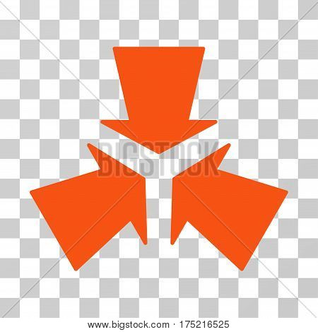 Shrink Arrows icon. Vector illustration style is flat iconic symbol orange color transparent background. Designed for web and software interfaces.