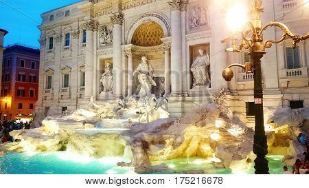 Trevi Fountain and Poli Palace. Rome, Italy.   illuminated at night in the heart of Roma.