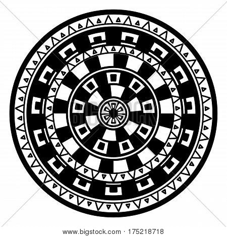 Round geometric pattern of meanders. Composite decorative element of the circles with ornaments. Stencil Tattoo and prints.