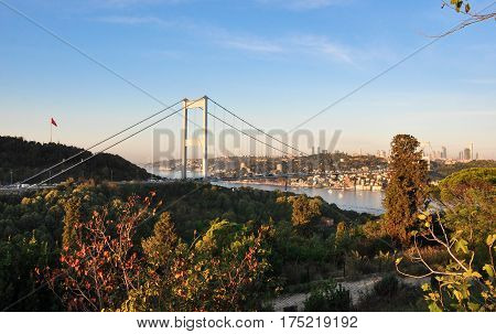 Fatih Sultan Mehmet Bridge-October 10, 2016: connecting Europe to Asia. Located in Istanbul, Turkey.