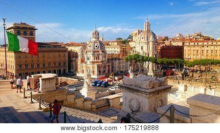 View of rome since Altar of the Fatherland (Altare della Patria) known as the Monumento Nazionale a Vittorio Emanuele II (