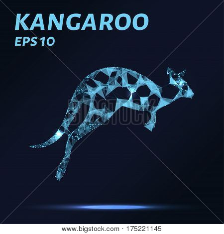 Kangaroo Consists Of Points, Lines And Triangles. The Polygon Shape In The Form Of A Silhouette Of A