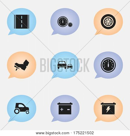 Set Of 9 Editable Car Icons. Includes Symbols Such As Treadle, Vehicle Car, Speed Control And More. Can Be Used For Web, Mobile, UI And Infographic Design.