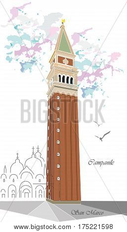 Vector illustration background with colorful tower of Campanile in Venice
