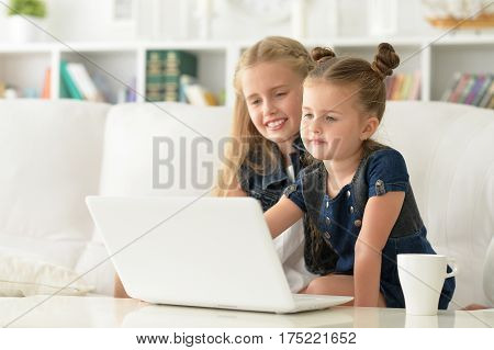 two sisters using laptop, together at home